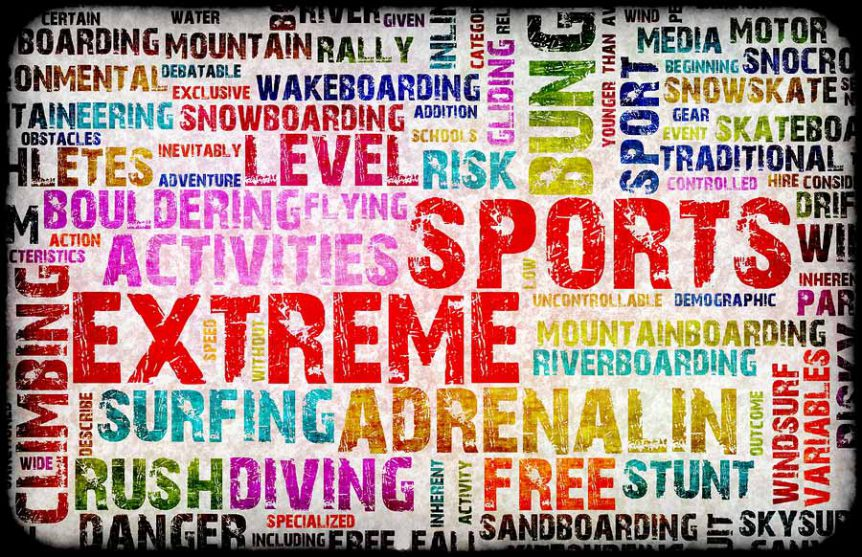 image of different coloured words associated with extreme sports