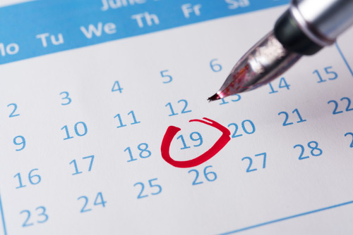 photo of a calenda with a date circled in red