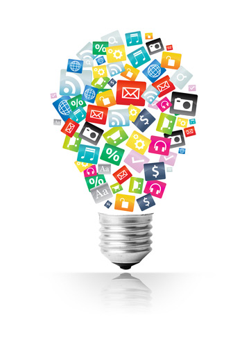 image of resources and apps in the shape of a lightbulb