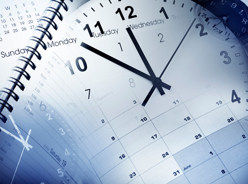 image of a clock and calendar overlayed together
