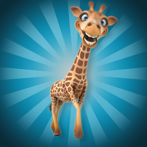 A tall smiling giraffe on blue background