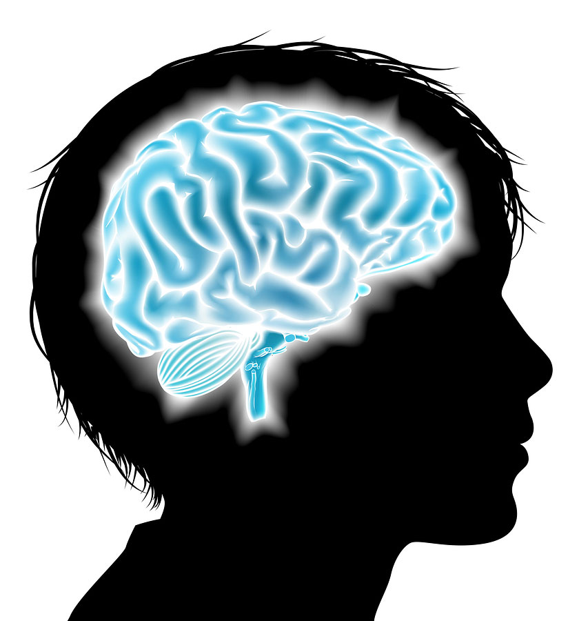 image of a child with a blue brain