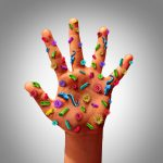 Picture of a hand covered in germs