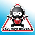 baby ninja on board sign on small acorn blue background